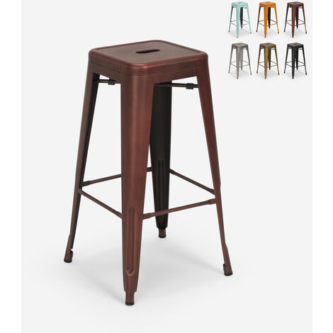 Tabouret vintage en métal design industriel pour bar et cuisine style Tolix Steel Stale