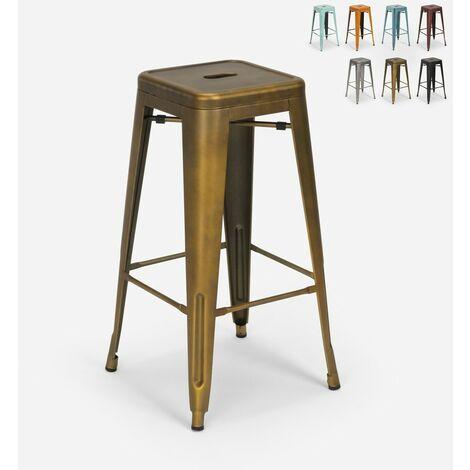 """main image of """"Tabouret vintage en métal design industriel pour bar et cuisine style Tolix Steel Stale"""""""