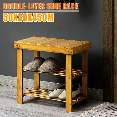 Tabourets à chaussures polyvalents 50x30x45CM tabouret de rangement en bois massif étagère à chaussures en bambou double couche