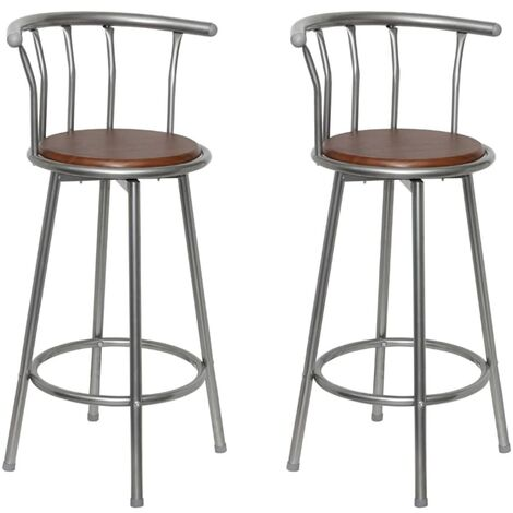 Tabourets de bar 2 pcs Marron Acier