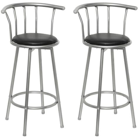 Tabourets de bar 2 pcs Noir Similicuir