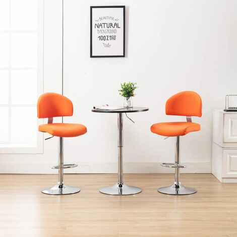 Tabourets de bar 2 pcs Orange Similicuir