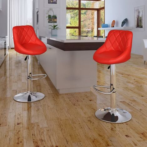 Tabourets de bar 2 pcs Rouge Similicuir