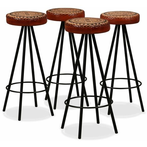 Tabourets de bar 4 pcs Cuir véritable