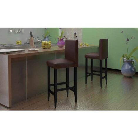 Tabourets de bar 4 pcs Marron foncé Similicuir