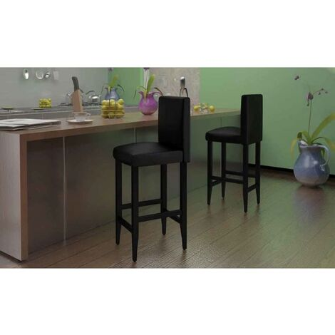 Tabourets de bar 4 pcs Noir Similicuir