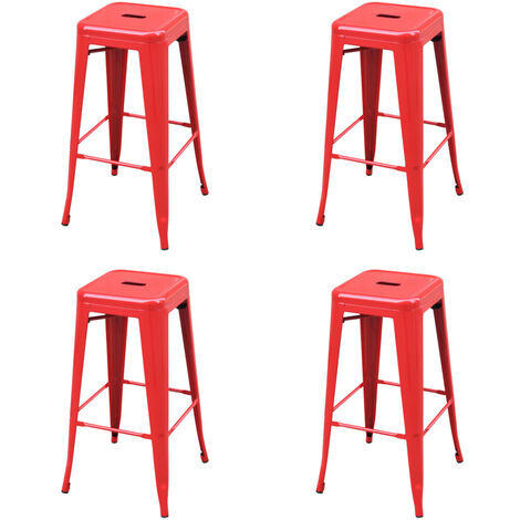 Tabourets de bar 4 pcs Rouge Acier