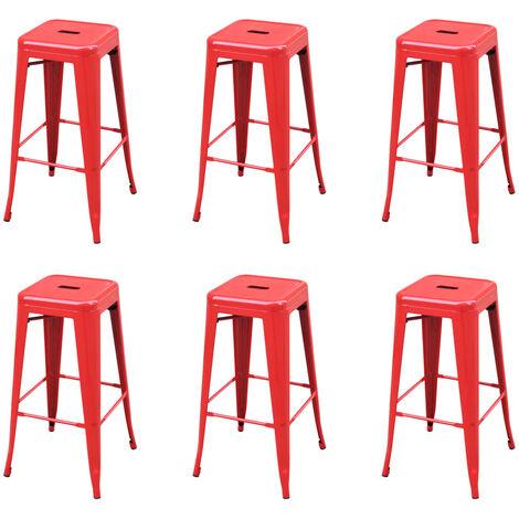 Tabourets de bar 6 pcs Rouge Acier