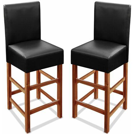 Tabourets de bar assise en simili cuir noir bois acacia assise 75cm Lot de 2 tabourets
