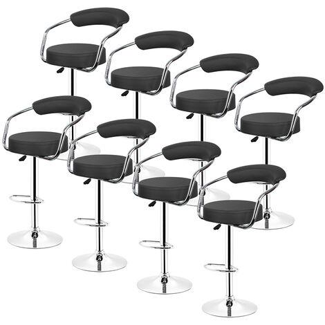Tabourets de Bar Cuisine | Lot de 8,NOIR, en Similicuir, Pivotant en Simili-Cuir et Métal, Hauteur Réglable 65-85 cm
