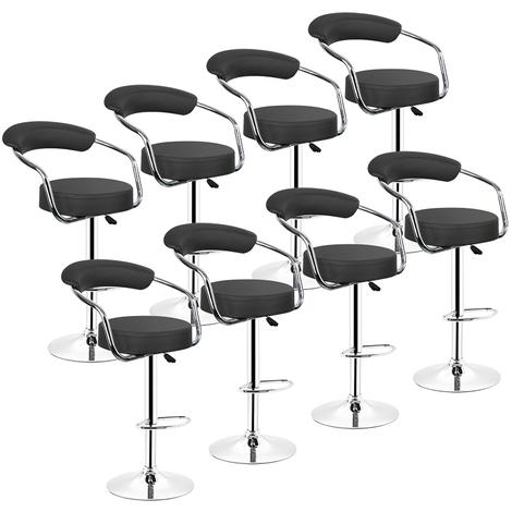 Tabourets de Bar Cuisine | Lot de 8,NOIR, en Similicuir, Pivotant en Simili-Cuir et M谷tal, Hauteur R谷glable 65-85 cm