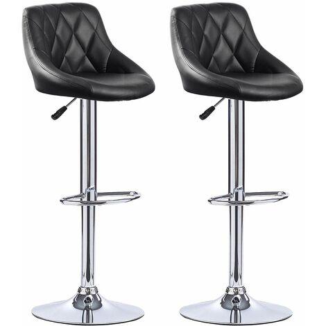 Tabourets de Bar Cuisine - Tabouret de Bar Lot de 2 - siège Bien rembourré, en Cuir Artificiel Chaise de bar Similicuir - noir