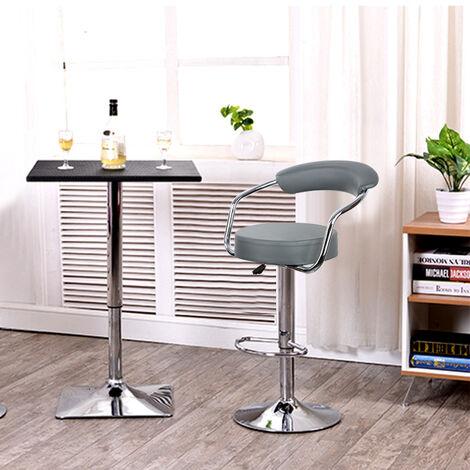 Tabourets de bar de cuisine imitation cuir Chaise réglable en hauteur 55 à 75 cm (Lot de 4, Gris)