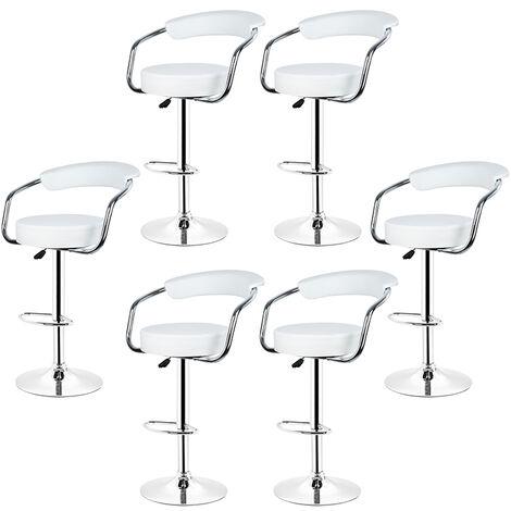 Tabourets de bar de cuisine imitation cuir chaise r glable en hauteur 55 75 cm lot de 6 - Tabouret cuisine reglable hauteur ...