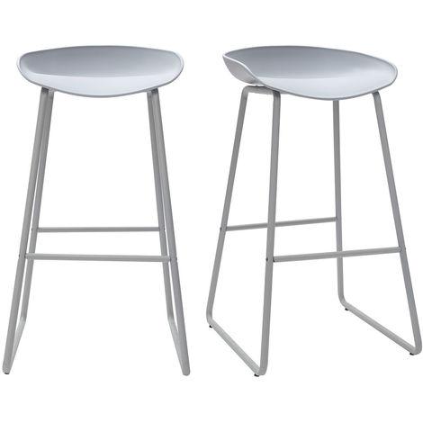 Tabourets de bar design avec pieds en métal (lot de 2) PEBBLE