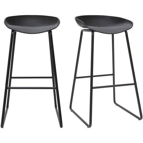 """main image of """"Tabourets de bar design avec pieds en métal (lot de 2) PEBBLE"""""""