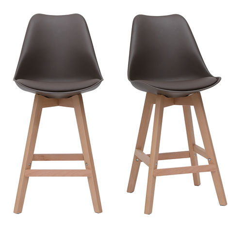Tabourets de bar design bois H65 cm (lot de 2) PAULINE
