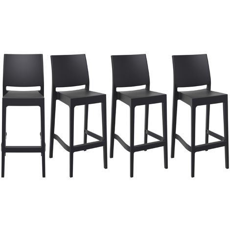 Tabourets de bar design empilables 75 cm noirs (lot de 4) CALAO