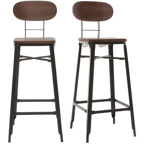 tabourets de bar en bois et m tal noir h75 cm lot de 2. Black Bedroom Furniture Sets. Home Design Ideas