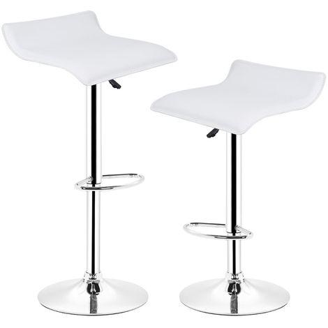 Tabourets de bar - Lot de 2 - Chaise de Bar Tabouret à la Maison - Cuisine Blanc