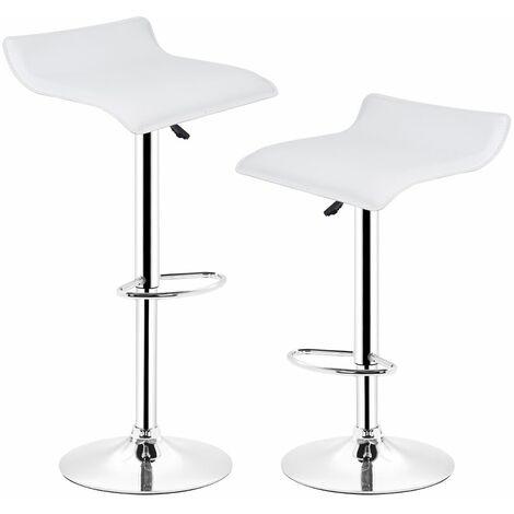 Tabourets de bar, Lot de 2 - Chaise de Bar Tabouret a la Maison , Cuisine Blanc