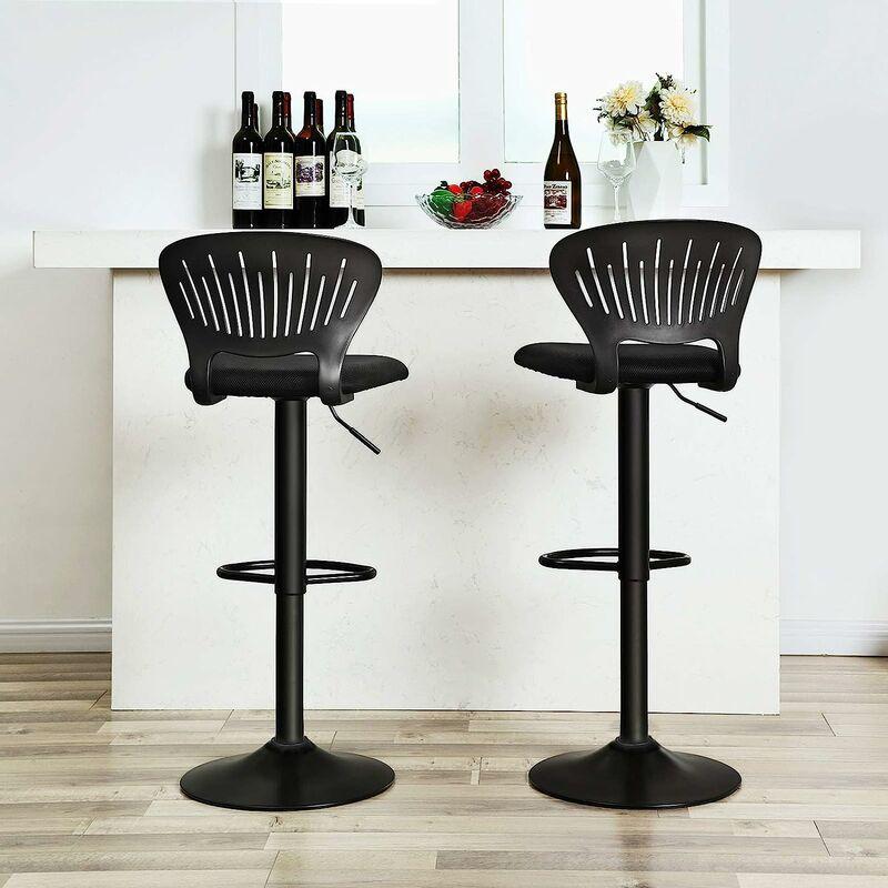 Hauteur r/églable Tissu Respirant Dossier en Forme de Couronne Assise rembourr/ée Lot de 2 Bar Noir LJB04BK SONGMICS Tabourets de Bar pour Cuisine Pivotant