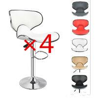 Tabourets de Bar LOT DE 4 avec Dossier et Assisse en Similicuir Rotatif à 360 Dégrées, pour Bar, Comptoir ou Cuisine-Blanc