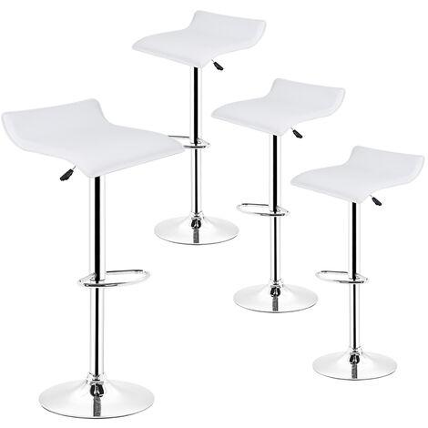 Tabourets de bar - Lot de 4 - Chaise de Bar Tabouret à la Maison - Cuisine Blanc