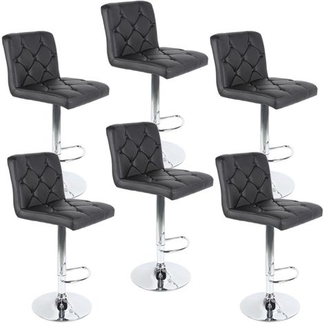 Tabourets de bar, Lot de 6, Tabourets pivotants réglables, Simili Noir