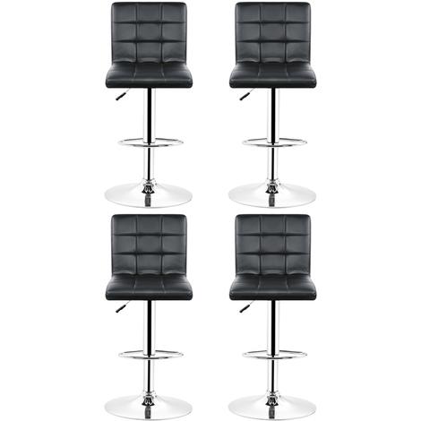 Tabourets de bar (noirs) lot de 4 ajustables en cuir PU avec dossier
