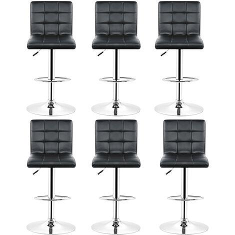 Tabourets de bar (noirs) lot de 6 ajustables en cuir PU avec dossier