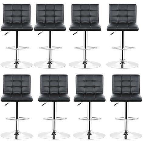 Tabourets de bar (noirs) lot de 8 ajustables en cuir PU avec dossier