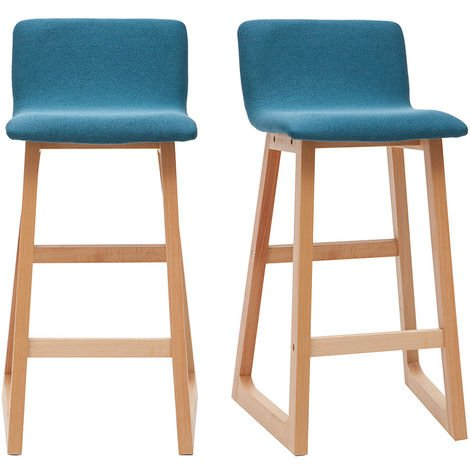 Tabourets de bar scandinaves bleu canard 65 cm (lot de 2) OSAKA