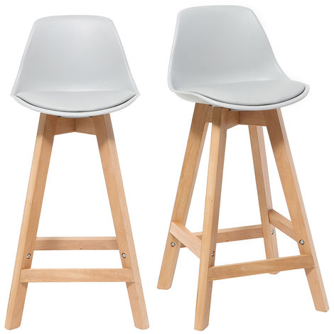 Tabourets de bar scandinaves bois 65 cm (lot de 2) MINI PAULINE