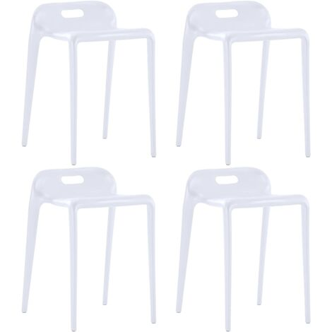 Tabourets empilables 4 pcs Blanc Plastique