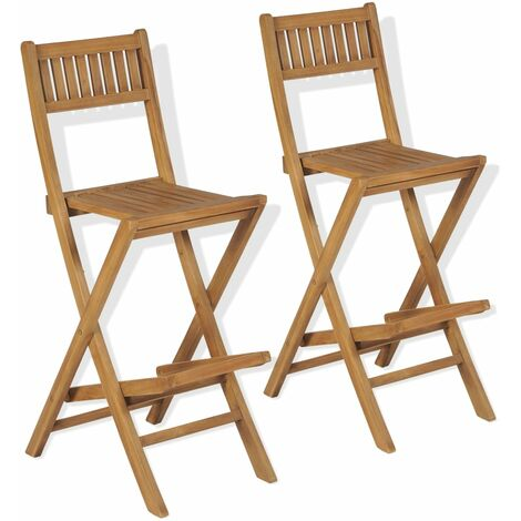 Tabourets pliables de bar d'extérieur chaises de bar en bois 2 pcs Bois de teck solide
