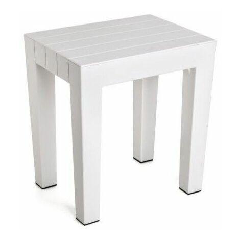 """main image of """"TATAY banqueta rectangular fabricada en Polipropileno texturizado blanco, con acabado efecto madera. Protección anti-uva, apta para interior y exteriores. Medidas 38x29x41m5 cm"""""""