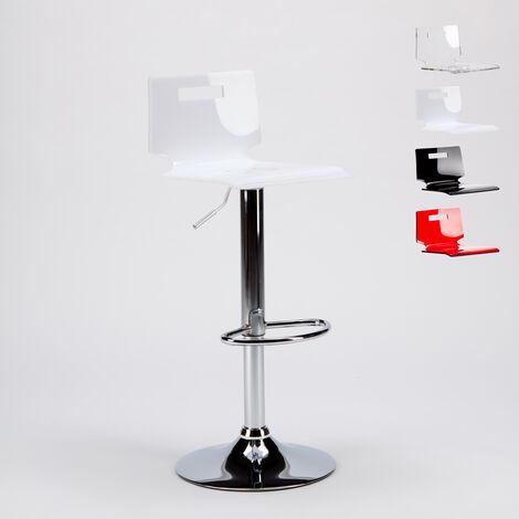Taburete bar y cocina acero cromado diseño moderno SAN JOSÉ | Blanco