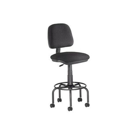 Taburete con respaldo rocada para mesa de dibujo negro regulable en altura hasta 725 mm tela ignifuga