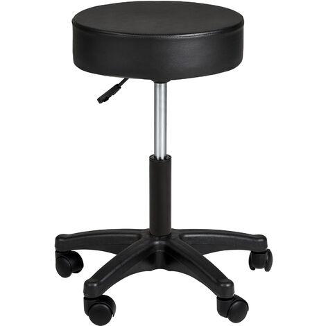 Taburete con ruedas - taburete giratorio para comedor, silla de oficina ajustable con asiento acolchado, asiento metálico de escritorio