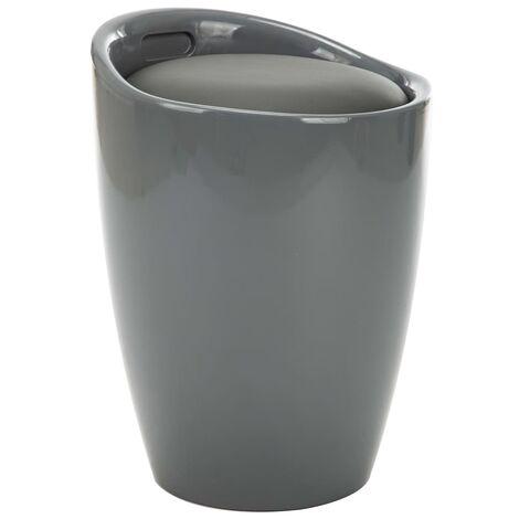 Taburete de almacenamiento cuero sintético gris