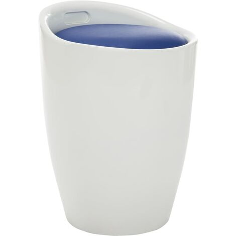 Taburete de almacenamiento de cuero sintético blanco y azul