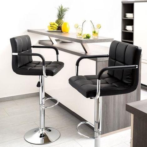 Taburete de bar conjunto de 2, silla de bar con respaldo en piel sintética Base y reposabrazos, ajustable Altura 58 cm - 78 cm