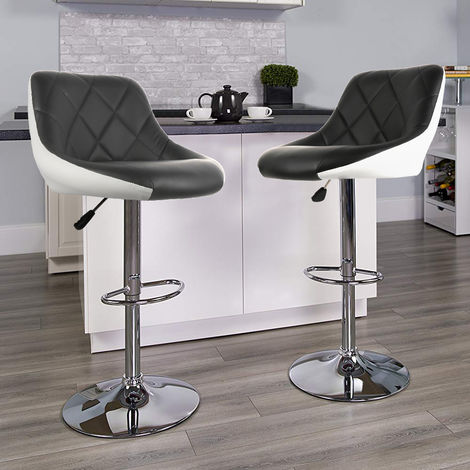 Taburete de bar conjunto de 2 súper calidad con taburetes tapizados en cuero artificial ajustable negro blanco