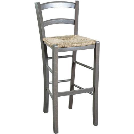 Taburete de bar de madera y asiento de paja para mesa de comedor para restaurante para pizzería para granjas para arte rústico A