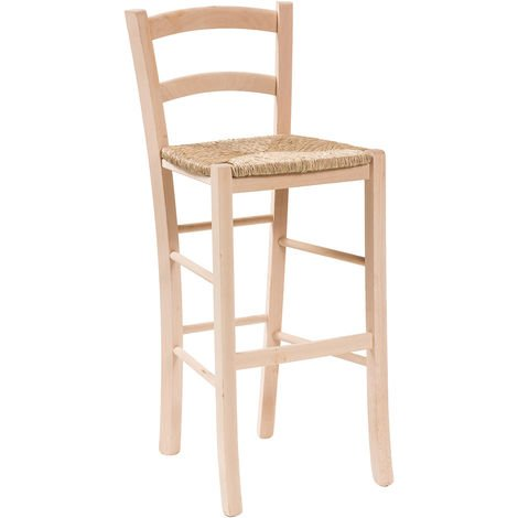 Taburete de bar de madera y asiento de paja para mesa de comedor para restaurante para pizzería para granjas para arte rústico L