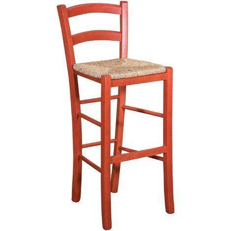 Taburete de madera maciza de haya, acabado en rojo, asiento de paja (cm: 46 x 41 x 101). Made in Italy