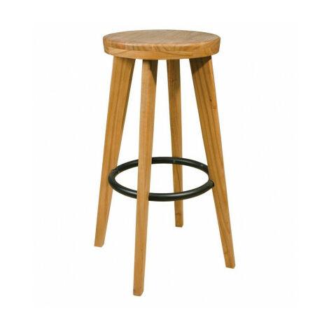 Taburete de madera maciza y aro reposapatas metálico sta2013002-DESKandSIT-