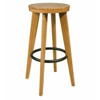 fa6554bae9ca Taburete de madera maciza y aro reposapatas metálico sta2013002-DESKandSIT-