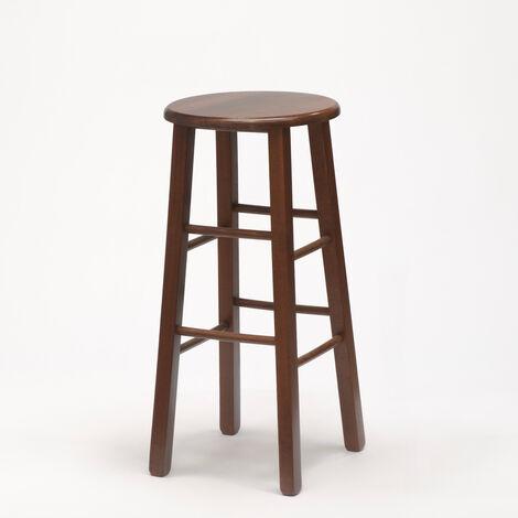 Taburete de madera redondo alto para bar e cocina BERLIN
